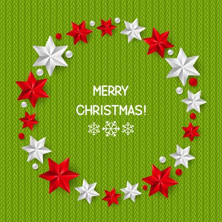 knitted background: Decoraciones de Navidad estrellado en el fondo de punto