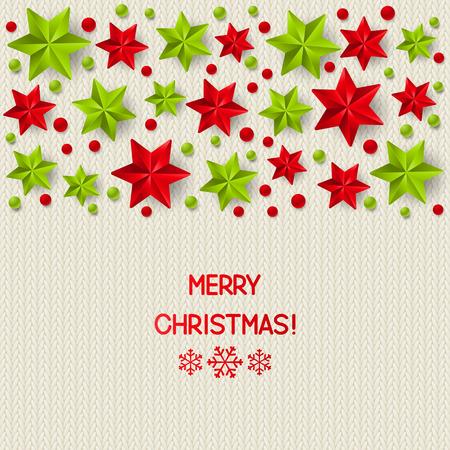xmas background: Xmas starry decorations on white knitted background Illustration