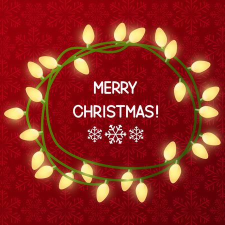 christmas bulbs: Christmas light bulbs on red background