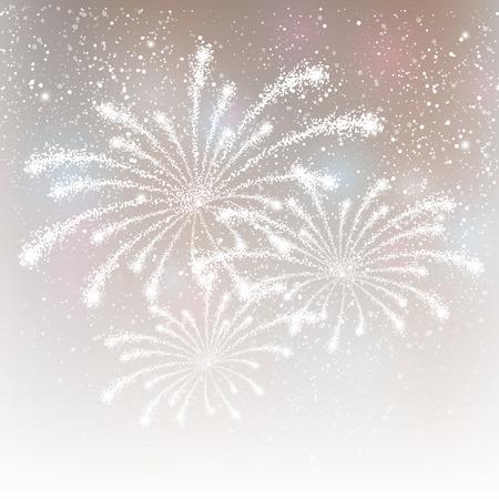 銀色の背景に光沢のある花火  イラスト・ベクター素材