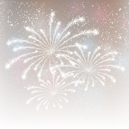 Shiny fireworks on silver background Illustration