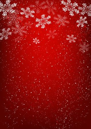 Flocons de neige de Noël sur fond rouge