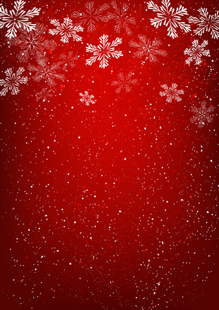 Xmas snowflakes on red background Çizim