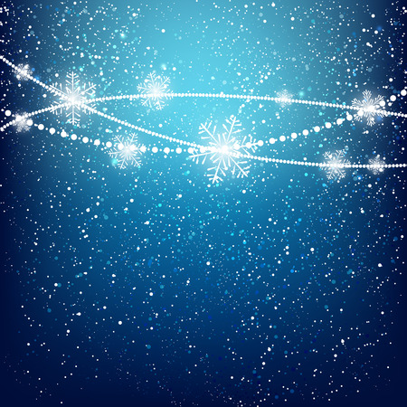 Christmas background with shiny snowflakes Vector