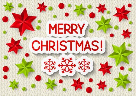 knitted background: Mensaje de Navidad en el fondo de punto