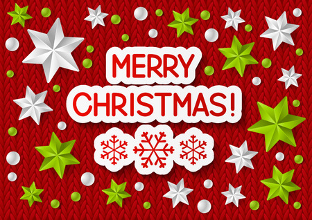 knitted background: Xmas message on knitted background