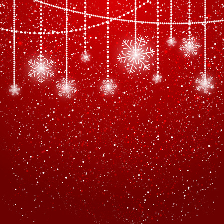 Christmas background with shiny snowflakes  イラスト・ベクター素材