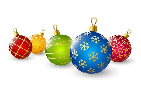 白い背景の上のクリスマス色のボール