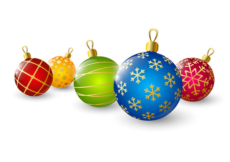 glitter ball: Xmas color balls on white background