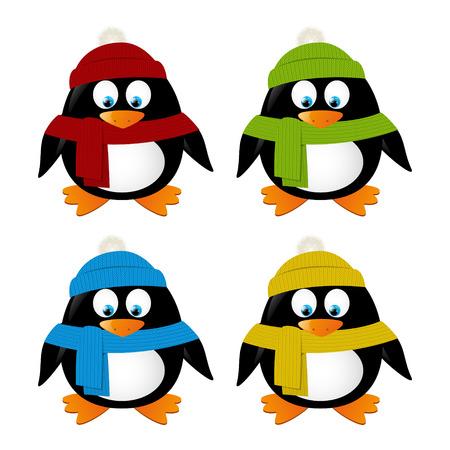 pinguino caricatura: Pingüinos lindos de la historieta aislados en blanco