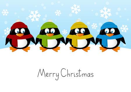 animales salvajes: Ping�inos lindos de la historieta en el fondo de invierno