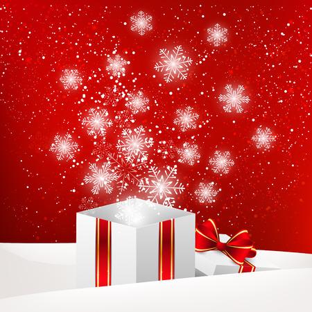 magic box: Christmas gift box with shiny snowflakes