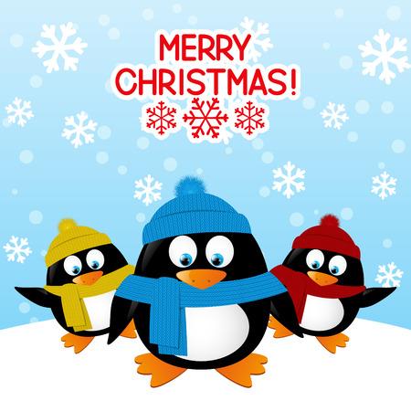winter fun: Funny cartoon penguins on winter background