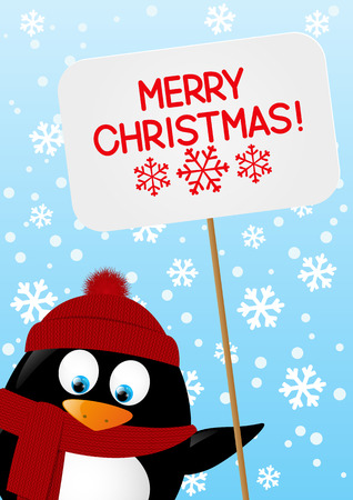 winter fun: Funny cartoon penguin with paper plate Illustration