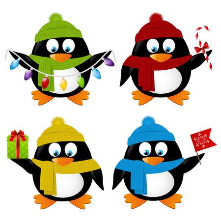 pinguinos navidenos: Conjunto de dibujos animados divertidos pingüinos de Navidad