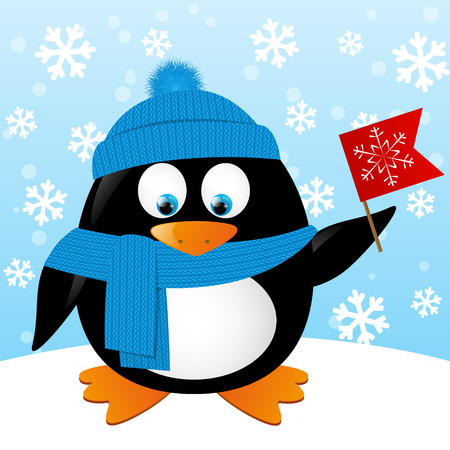 warm clothes: Cute cartoon penguin on winter background