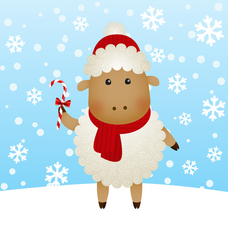 cartoon new year: Cartoon New Year sheep on winter background Illustration