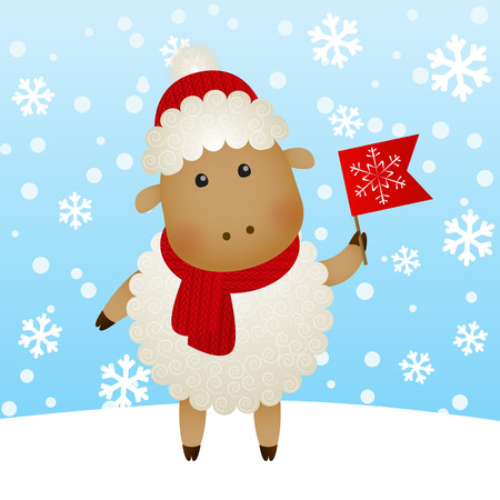 cartoon new: Cartoon New Year sheep on winter background Illustration