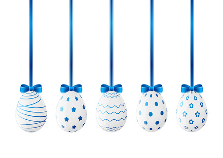 Set of Easter eggs with blue ribbon Vector