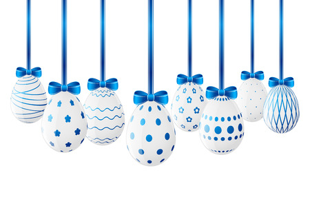 Easter eggs with blue ribbon Vector