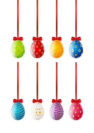 Set of Easter eggs with red ribbon Vector