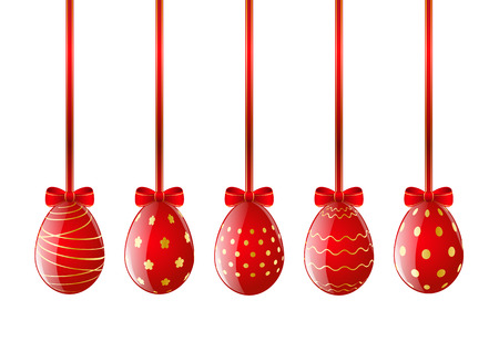 Set of red Easter eggs with ribbon Vector