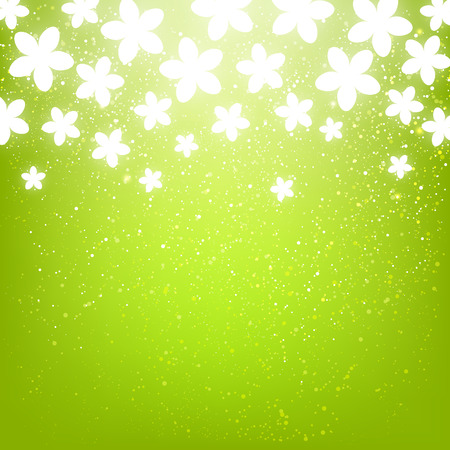 shiny background: Shiny flowers on green background Illustration