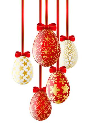 Red Easter eggs on white Vector