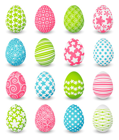 Set of color Easter eggs Vettoriali