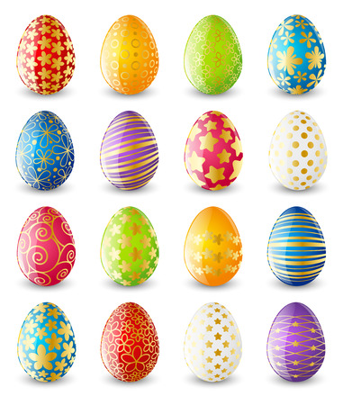 Set of color Easter eggs Çizim