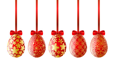 Set of red Easter eggs Vector