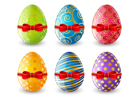 Set of Easter eggs with red bows Vector