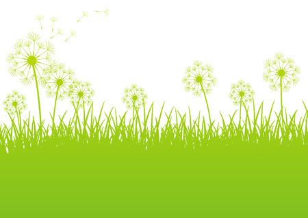 緑の春の背景のテキストに