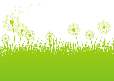 spring landscape: Green spring background with place for text Illustration