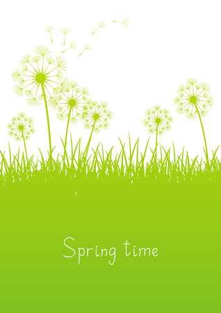 graphic backgrounds: Green spring background with place for text Illustration