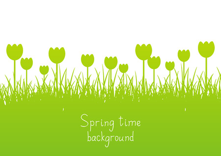 to place: Green spring background with place for text Illustration