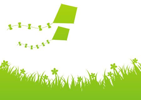 papalote: Fondo verde del verano con cometas