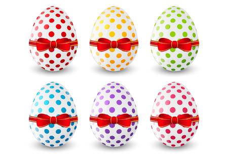 Set of Easter eggs on white Vector