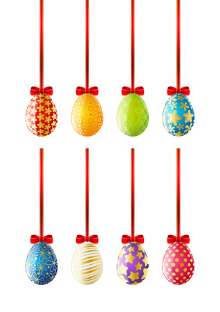 Set of Easter eggs with red ribbons Vector