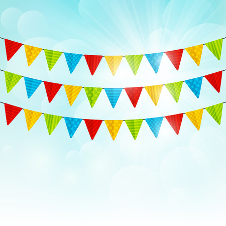 festival vector: Color party flags on sunny background Illustration