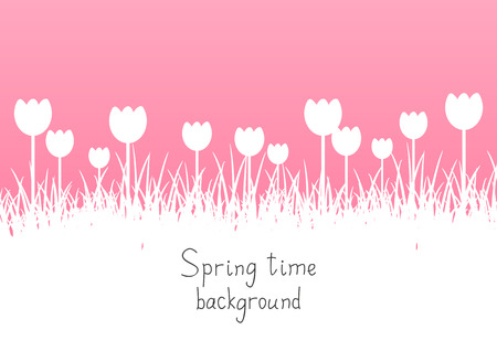 grass silhouette: Pink spring background with place for text
