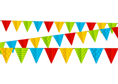 carnival border: Color party flags isolated on white