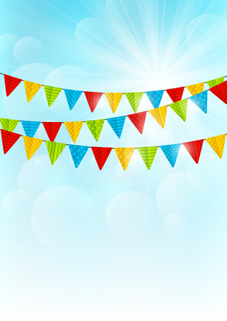 Color party flags on sunny background Vectores