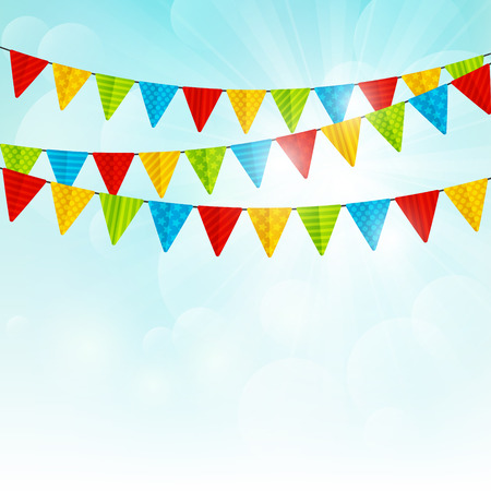 Color party flags on sunny background Ilustracja