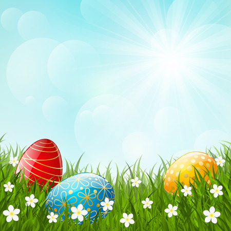 april beautiful: Easter eggs on green grass Illustration