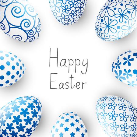 Easter blue eggs on white 免版税图像 - 38425217