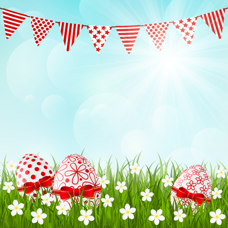 Easter red eggs on green grass Vector