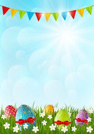 Easter color eggs on green grass Vector