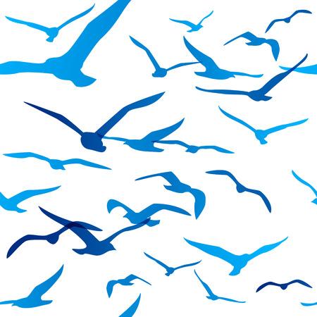 鳥のシルエットとシームレスなパターン  イラスト・ベクター素材