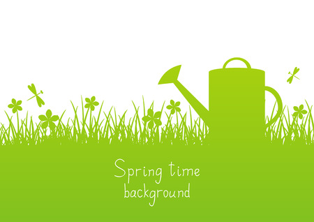 watering garden: Spring garden background with place for Your text